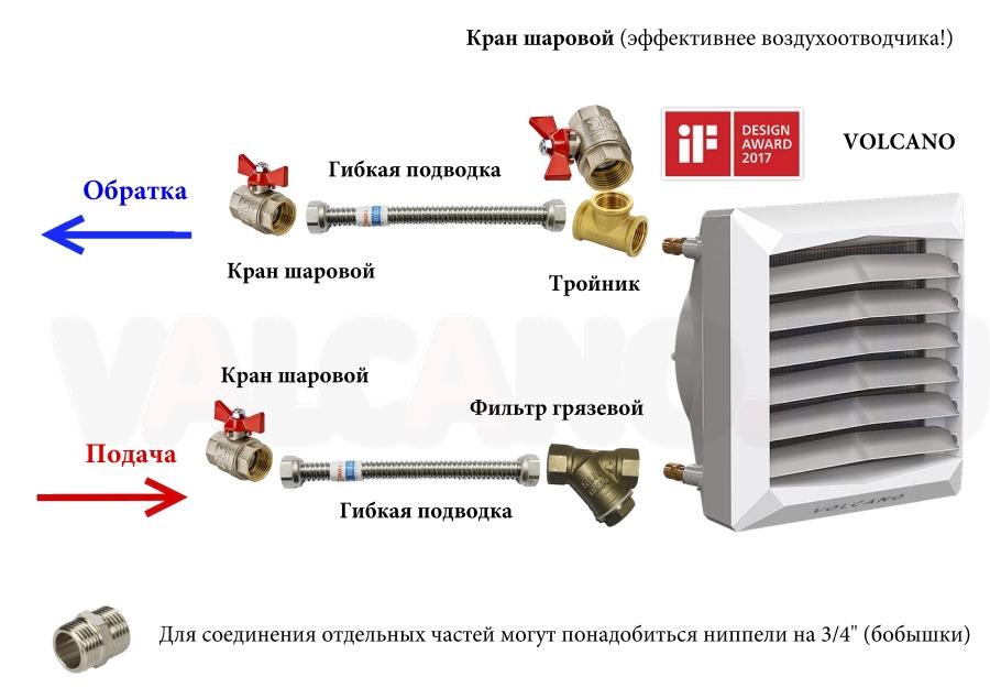 Как подключить волкано вр2 к теплоносителю?